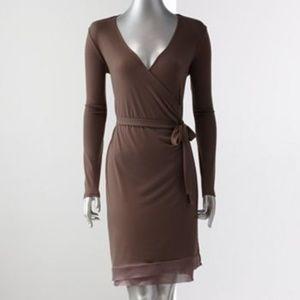Simply Vera Wang Faux Wrap Long Sleeve Midi Dress